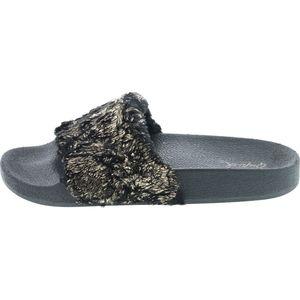 WOMENS FAUX FUR METALLIC FOOTBED SLIDES SANDALS